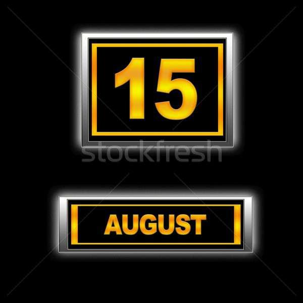Août 15 illustration calendrier éducation noir Photo stock © asturianu