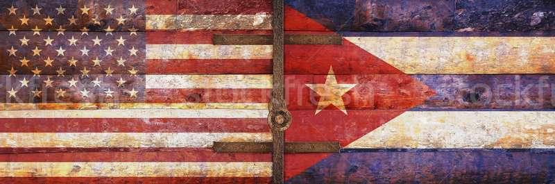 Ahşap bayraklar ABD Küba iş dünya Stok fotoğraf © asturianu