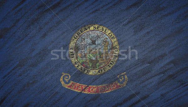 Idaho zászló festett színes kréta iskolatábla Stock fotó © asturianu