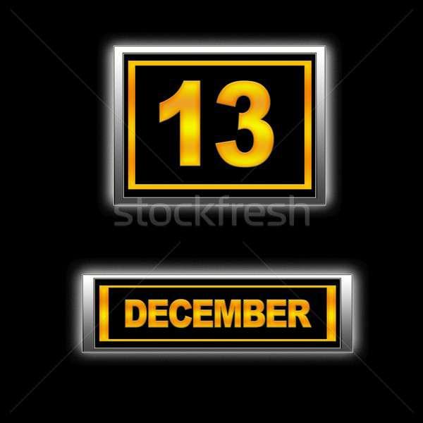 12月 13 実例 カレンダー 教育 黒 ストックフォト © asturianu