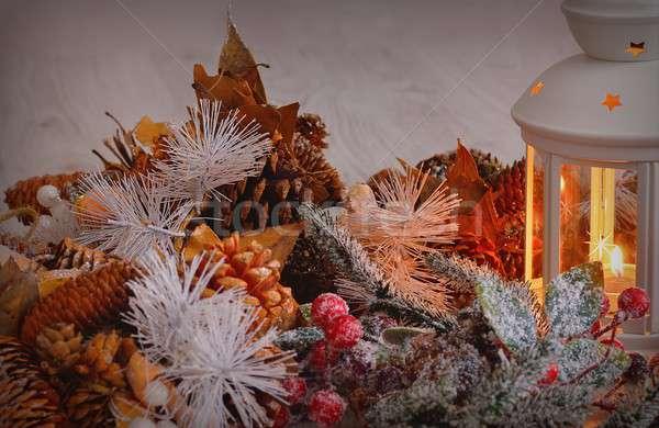 égő lámpás karácsony díszítések közelkép koszorú Stock fotó © asturianu