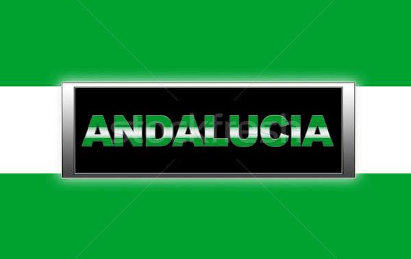 Andalúzia megvilágított felirat zöld zászló szín Stock fotó © asturianu