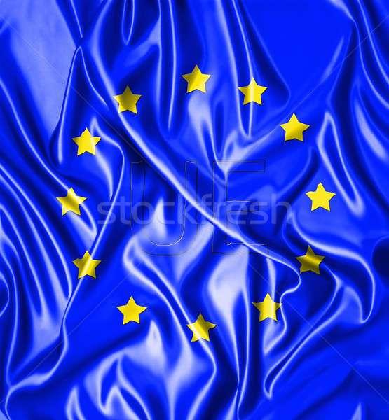 ヨーロッパ 実例 ヨーロッパの フラグ シルク ファブリック ストックフォト © asturianu