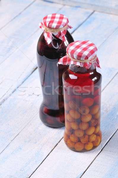 Cseresznye likőr fa asztal üveg klasszikus cukor Stock fotó © asturianu