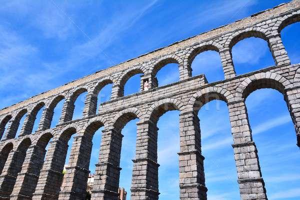 The famous ancient aqueduct in Segovia. Stock photo © asturianu