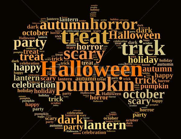 Halloween ilustracja chmura słowo projektu pomarańczowy jesienią Zdjęcia stock © asturianu