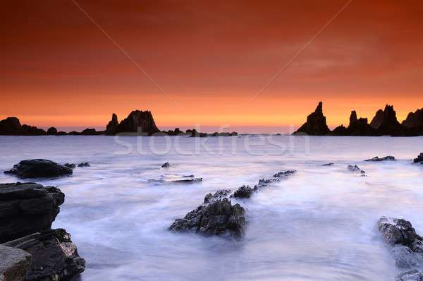 Picturesque view on Gueirua beach in Asturias, Spain Stock photo © asturianu