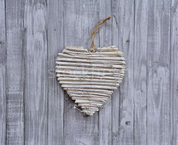 Handmade heart on wooden background Stock photo © asturianu
