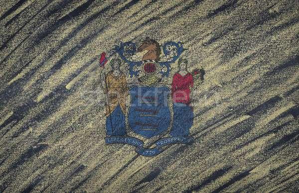 Нью-Джерси флаг окрашенный мелом доске Сток-фото © asturianu