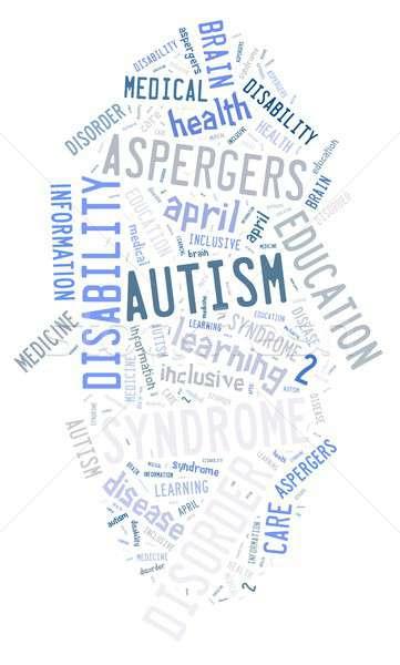 Autyzm ilustracja chmura słowo choroba dziecko tle Zdjęcia stock © asturianu