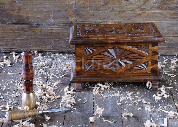 Göğüs ahşap çalışmak bank marangozluk araç Stok fotoğraf © asturianu