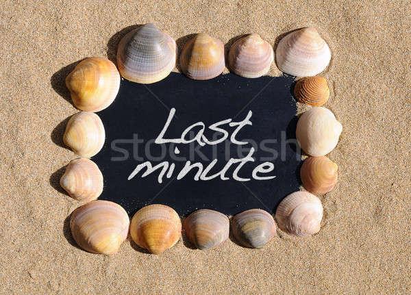 Ostatni minuta tablicy plaży wyrażenie tle Zdjęcia stock © asturianu