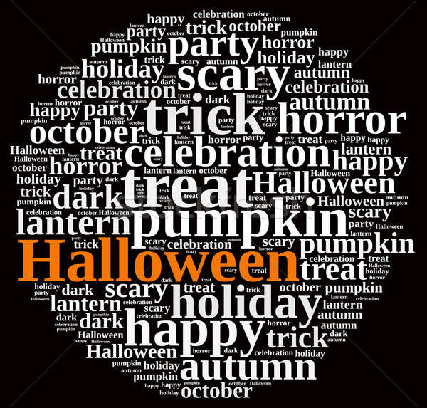 Halloween illustration nuage de mots design orange automne Photo stock © asturianu