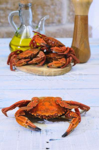 Mar caranguejo cozinhar mesa de madeira cozinha peixe Foto stock © asturianu