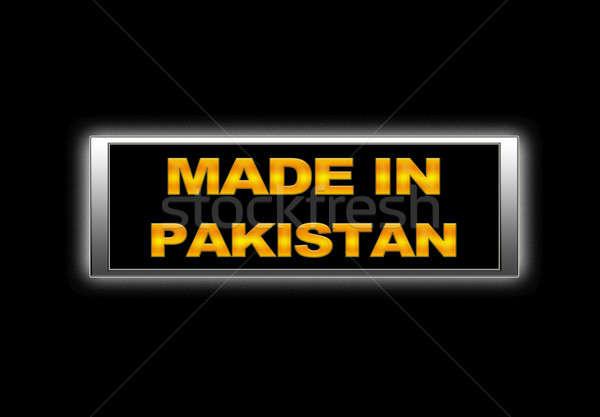 Pakisztán megvilágított felirat terv fém űr Stock fotó © asturianu