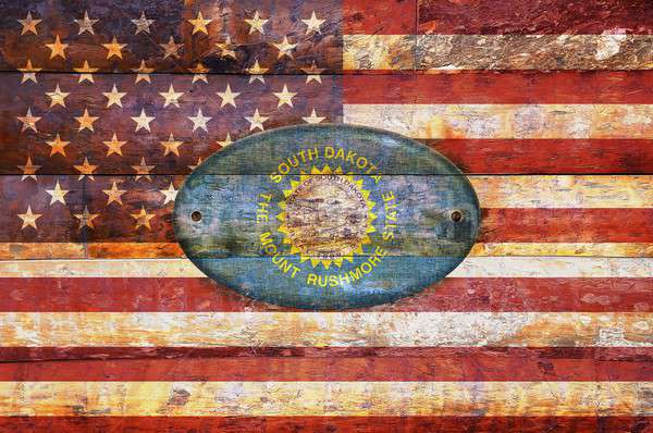 Ahşap bayrak Güney Dakota örnek dizayn imzalamak Stok fotoğraf © asturianu