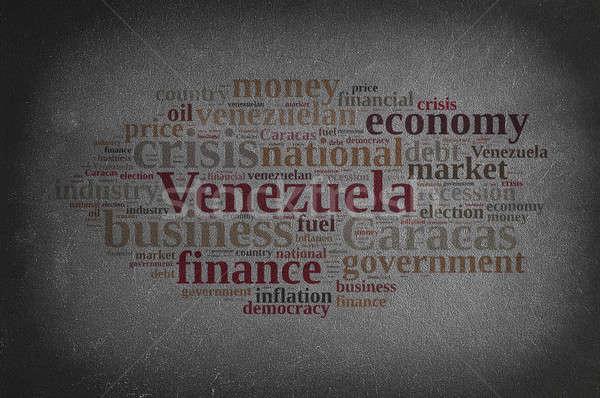 Blackboard woordwolk Venezuela business geld achtergrond Stockfoto © asturianu