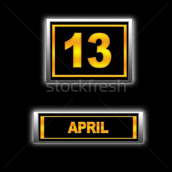 13 ilustración calendario educación negro programa Foto stock © asturianu