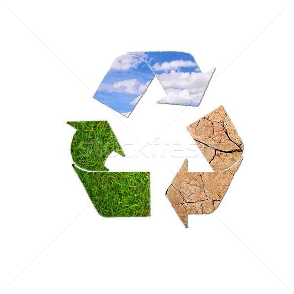 Recycleren planeet illustratie teken witte voorjaar Stockfoto © asturianu