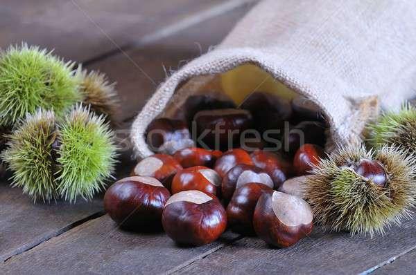 Mesa de madeira cozinha comida natureza nozes Foto stock © asturianu