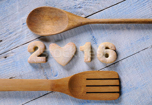 Homemade cookies in form of New Year numbers 2016 Stock photo © asturianu
