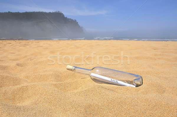 Sos bericht fles concept Stockfoto © asturianu