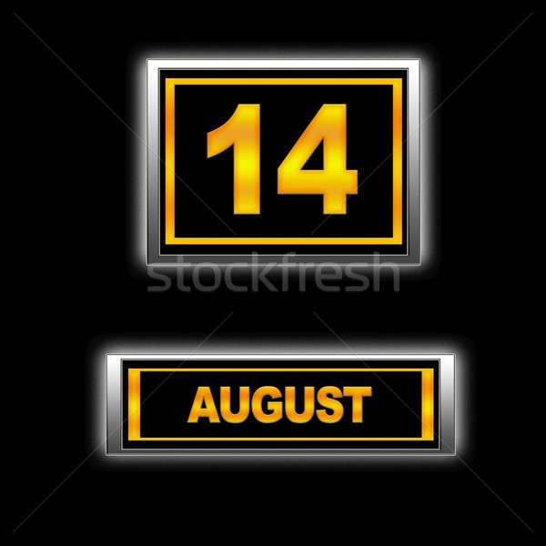 Agosto 14 illustrazione calendario istruzione nero Foto d'archivio © asturianu