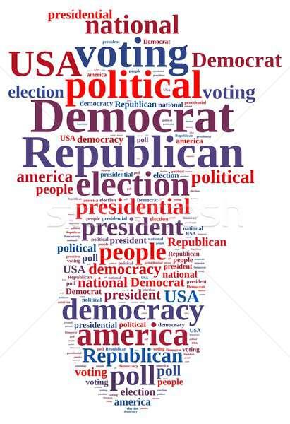 Demokrata republika chmura słowo wybory republikański czerwony Zdjęcia stock © asturianu
