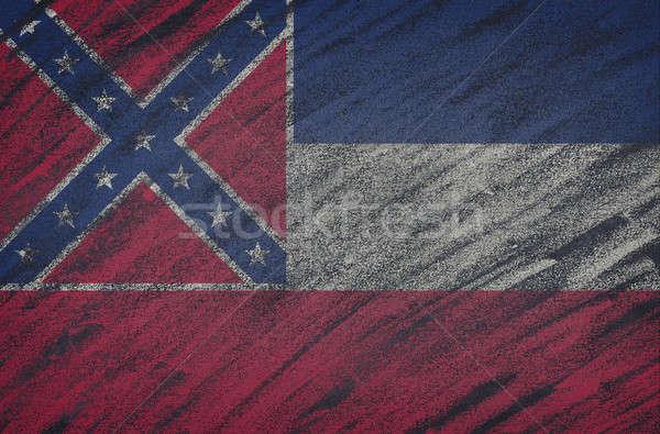 Mississipi bayrak boyalı renkli tebeşir tahta Stok fotoğraf © asturianu