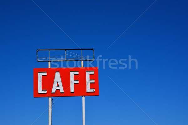 Cafe teken Texas historisch route 66 hemel Stockfoto © asturianu