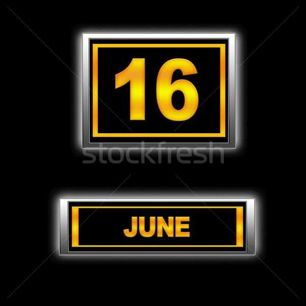 16 ilustracja kalendarza edukacji czarny porządku Zdjęcia stock © asturianu