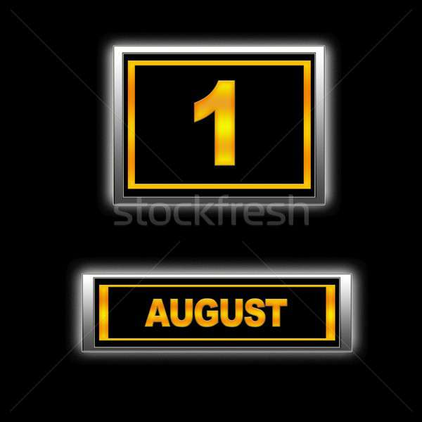 Augusztus illusztráció naptár oktatás fekete terv Stock fotó © asturianu
