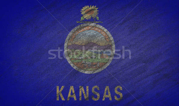 Kansas flag painted with colored chalk on a blackboard.  Stock photo © asturianu