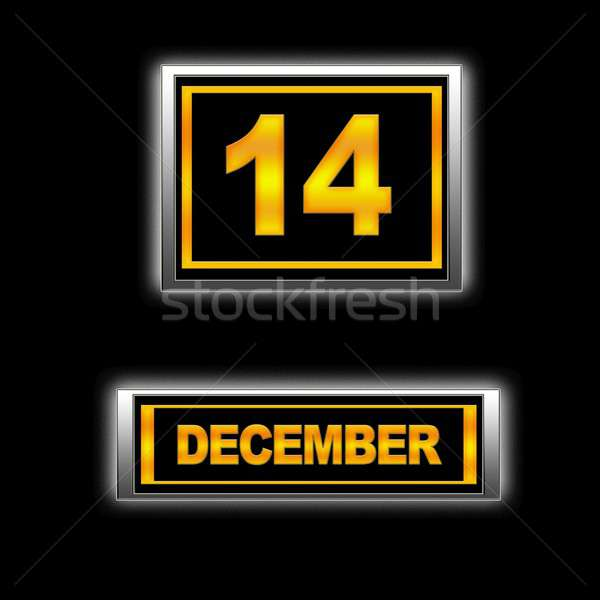 December 14 illustratie kalender onderwijs zwarte Stockfoto © asturianu