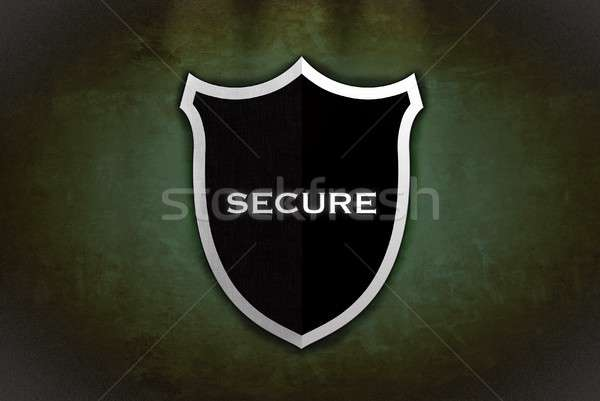 Beveiligde schild illustratie zwarte groene internet Stockfoto © asturianu