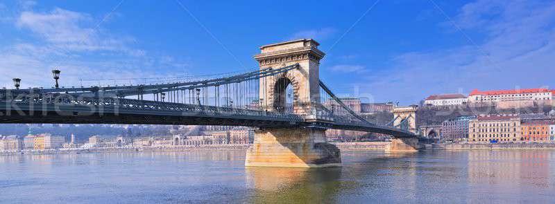 Szechenyi Chain bridge over Danube river, Budapest, Hungary. Stock photo © asturianu