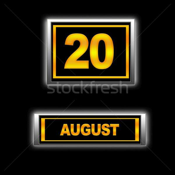 Augustus 20 illustratie kalender onderwijs zwarte Stockfoto © asturianu