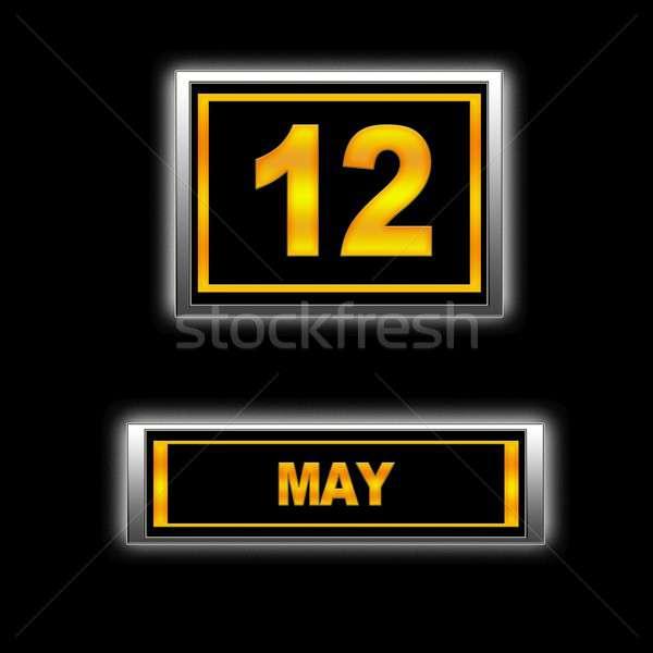 12 illustratie kalender ontwerp zwarte agenda Stockfoto © asturianu
