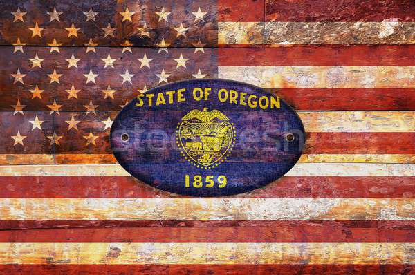 Stock photo: Wooden flag of Oregon.