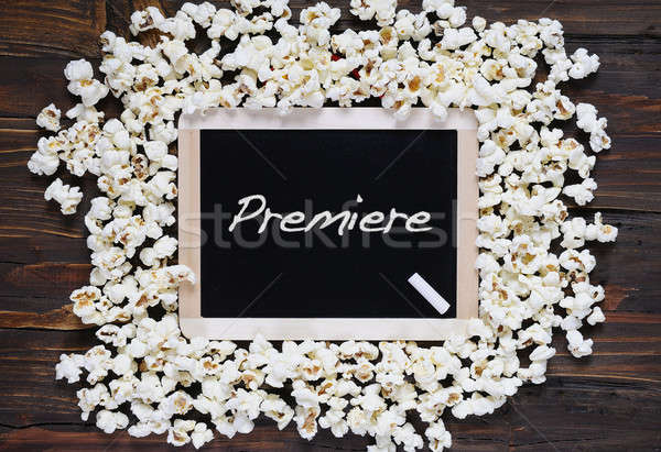 Popcorn woord première Blackboard achtergrond film Stockfoto © asturianu