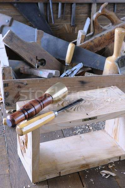 Poitrine bois travaux banc menuiserie outil Photo stock © asturianu