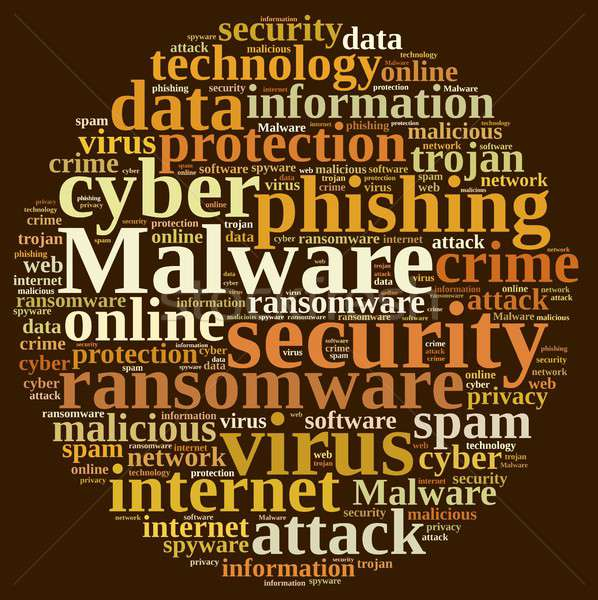 Chmura słowo słowo malware ilustracja bezpieczeństwa internetowych Zdjęcia stock © asturianu