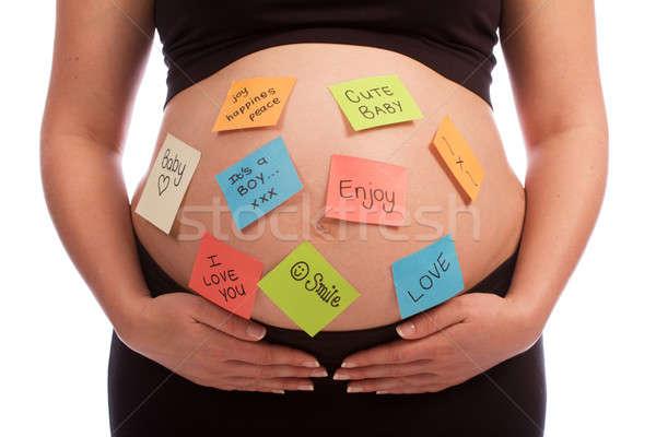 妊娠 白人 女性 ノート 腹 ストックフォト © avdveen