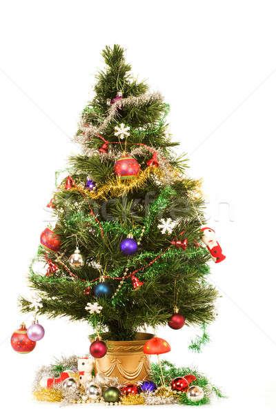 Ingericht kerstboom witte boom glas achtergrond Stockfoto © avdveen