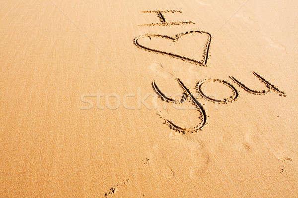 Sevecen sözler yazılı plaj kumu sevmek plaj Stok fotoğraf © avdveen