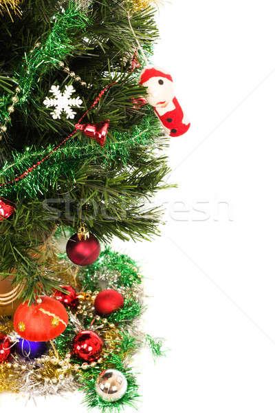 Dekore edilmiş noel ağacı ağaç arka plan yeşil mavi Stok fotoğraf © avdveen