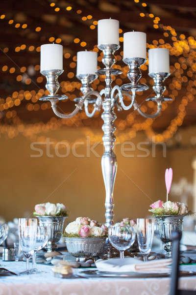Kwiaty tabeli wesele sali odznaczony selektywne focus Zdjęcia stock © avdveen