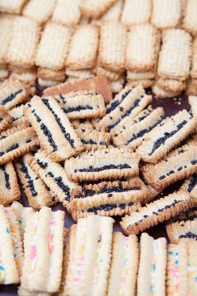 Freshly baked decorated condensed milk biscuits Stock photo © avdveen
