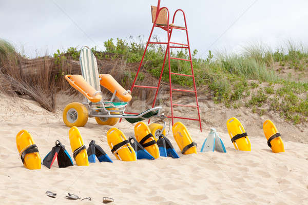 Lifesaver chair and equipment on the beach Stock photo © avdveen