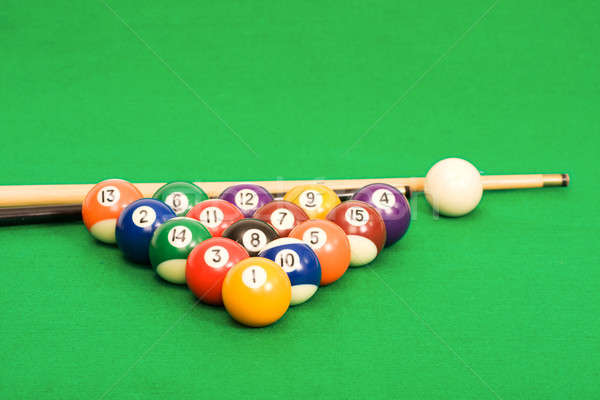 Billiard balls arranged on a green pool table Stock photo © avdveen